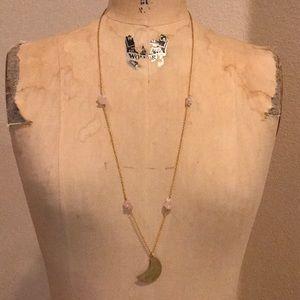 Jewelry - Hammered Crescent Moon Rose & Quartz Boho Necklace
